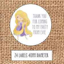 Princess Party bag stickers 24 thank you coming sweet cone birthday Rapunzel