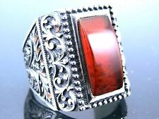 Handmade Crafted Design 925 Sterling Silver Agate Men's Ring Sz 10,5