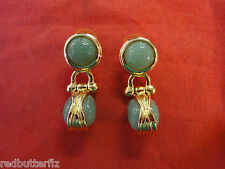 Goldtone green aventurine Scarab button Earrings with Removable Scarab Drop