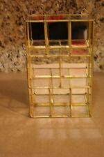 """Vintage 8.1/4"""" Brass Glass Curio Trinket Jewelry Box Display Case"""