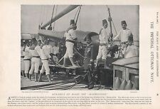 "1897 ANTIQUE MILITARY PRINT-IMPERIAL OTTOMAN NAVY,GUN DRILL ON BOARD ""MAHMOUDIEH"