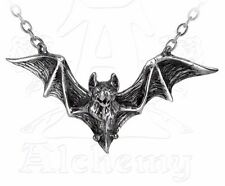 Om Strygia Balkan Flying Vampire Bat Pendant Pewter Necklace Alchemy Gothic P597