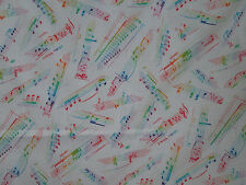 FUNKY MUSIC LINES NOTES BRIGHT COLORS WHITE BACKGROUND COTTON FABRIC BTHY