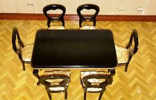 Dolls house dining table and six chairs