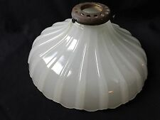 Vintage Milk Glass Ribbed Ceiling Light Shade Brass Fitting White