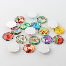 10 Flower 10mm Printed Half Round Domed Glass Cabochons (BOX124)