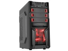 DIYPC Solo-T1-R Black USB 3.0 ATX Mid Tower Gaming Computer Case with 2 x Red Fa