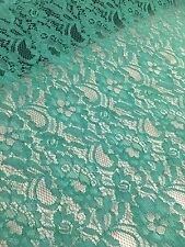 "Jade Green Lace Fabric - Floral Stretch Lycra - 60"" Wide - Per Meter"