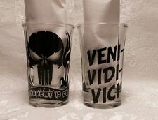 "PUNISHER ""VENI-VIDI-VICI"" SHOTGLASSES (2) Holiday Party Special Occassion"