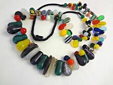 "VTG 36"" AFRICAN MALI WEDDING Glass BEAD NECKLACE with 106 BEADS"