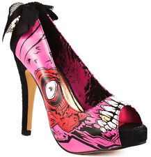 IRON FIST Black Pink ZOMBIE STOMPER Gold Digger CRAZY Punk Goth Heels! EU37 UK 4