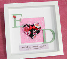 Personalised traditional 4th, modern 8th linen wedding anniversary gift frame