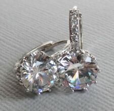 BRIDAL CRYSTAL RHINESTONES 18 k  WHITE GOLD PLATED  GP Clear SWAROVSKI  EARRINGS