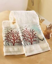 Set Of 2 Barbados Nautical Hand Towels Ocean Beach Coral Shells Home Bath Decor