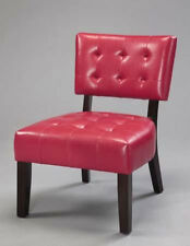 34-1/4''H Comtemporary Modern Designed Lether ACCENT CHAIR In RED Finish- ASDI