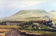 PRINCESS MARGARET ROSE AT RIBBLEHEAD VIADUCT YORKSHIRE DALES,SIGNED PRINT
