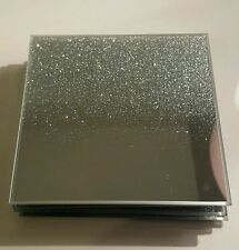 Set of 8 Sparkle Mirrored Glass Glitter Shimmer Silver Table Coasters