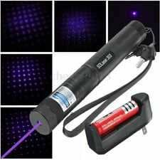 Purple 303 Laser Pointer Lazer Pen Beam Adjustable Focus+18650 Battery+Charger