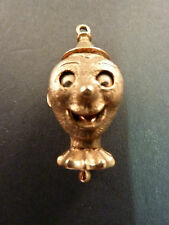 LARGE 9ct GOLD NOVELTY CLOWN HEAD CHARM OR PENDANT
