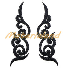 By pair Black Venise Flower Motif Lace Applique Guipure Trims DIY #VL17G