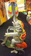 GENUINE POST WAR US ZONE GERMAN MADE TIN WIND UP CIRCUS ELEPHANT ON SCOOTER.