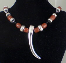 ROBERT LEE MORRIS Unusual Huge Sterling Silver & Brown Resin Necklace