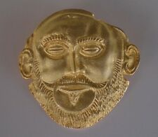 Mask of Agamemnon Silver Pendant - Gold Plated - Brooch - Pin - Ancient Greece