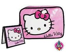 NEW COOL HELLO KITTY PURPLE COSMETICS BAG AND MIRROR MAKEUP MAKE UP BAG SET
