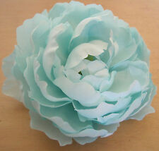 "Large 5"" Aquamarine Blue Peony Silk Flower Hair Clip, Weding, Prom, Dance, Prom"