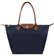 WaterProof Handbag Shopping Bag Blue Synthetic Leather Handle Tote By Nylon M