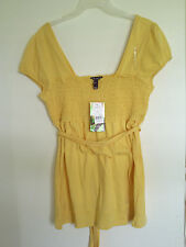 Ladies   FANG Yellow Empire waist  Shirt /Top Sz L