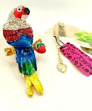 Cute NWT Betsey Johnson Necklace Rainbow Colorful Gold Parrot Sparkly Adorable