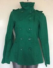 H & M, SIZE 16, EUR 42, GREEN DOUBLE BREASTED HIGH COLLAR REEFER JACKET, NWOT,