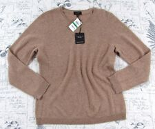 NWT CHARTER CLUB LUXURY WOMEN'S CASHMERE SWEATER CAMEL CREW NECK LARGE L