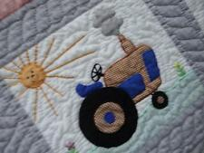LIFE ON THE FARM GREY VINTAGE IOWA MADE BACKHOE TRACTOR SAILBOAT TRAIN QUILT