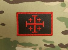 Jerusalem Cross Red Black Morale Patch Crusader Infidel Templar Knight