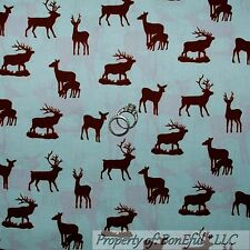 BonEful Fabric FQ Cotton Quilt Blue Brown Deer Buck Doe Family Scenic Cabin Hunt