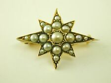 Antique pearl set star brooch pin Victorian 15 carat gold 3.3 grams circa 1880