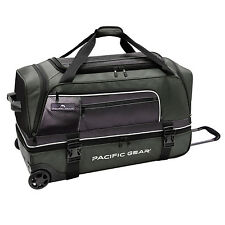 "Pacific Gear Drop Zone Green 30"" Large Drop Bottom Wheeled Duffel Bag Roller"