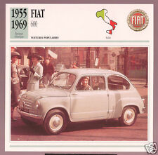 1955-1969 Fiat 600 Italy Car Photo Spec Sheet Info Stat French Atlas Card