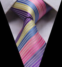 Arc-en-ciel Cravate Hommes Multicolore Violet Bleu Jaune & Rose SOLDE De Mariage