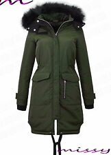 NEW Womens LADIES PARKA JACKET FUR HOOD PADDED WINTER COAT FISHTAIL Size 8-16 RI