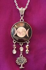 Wiccan Pagan Triple Moon Goddess 30mm Pendant Necklace Bead Dangle/Tree of Life
