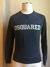 DSQUARED² RARE DARK BLUE WASHED & CRACKED FELT LOGO PRINT SWEATSHIRT SWEATER S S