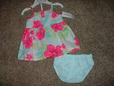 Carter's Baby Girls  Floral Hibiscus Summer Dress Set Size 3M 3 Months NWT NEW