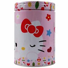 Sanrio Hello Kitty Pink Girls Tin Coin Bank Removable Lid Money Slot