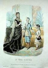 Gravure de Mode-Toilette de Mme Bréant-1881 N°6 La Mode illustrée-Anaïs-25X36