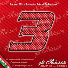 Adesivo Stickers NUMERO 3 moto auto cross gara Carbon Effect Red 5 cm