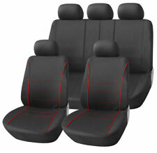 FIAT GRANDE PUNTO 06-10 BLACK SPORT SEAT COVERS WITH RED PIPING