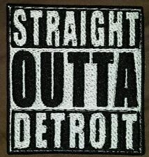 straight outta detroit motorcycle biker embroidered vest patch iron on New